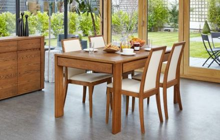 Olten Dark Oak Extending Dining Table with Drawer